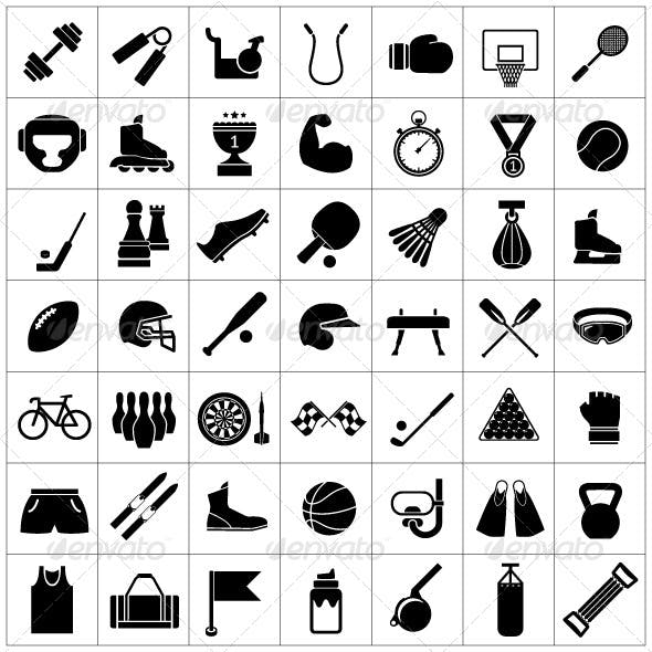 Set Icons of Sports and Fitness Equipment