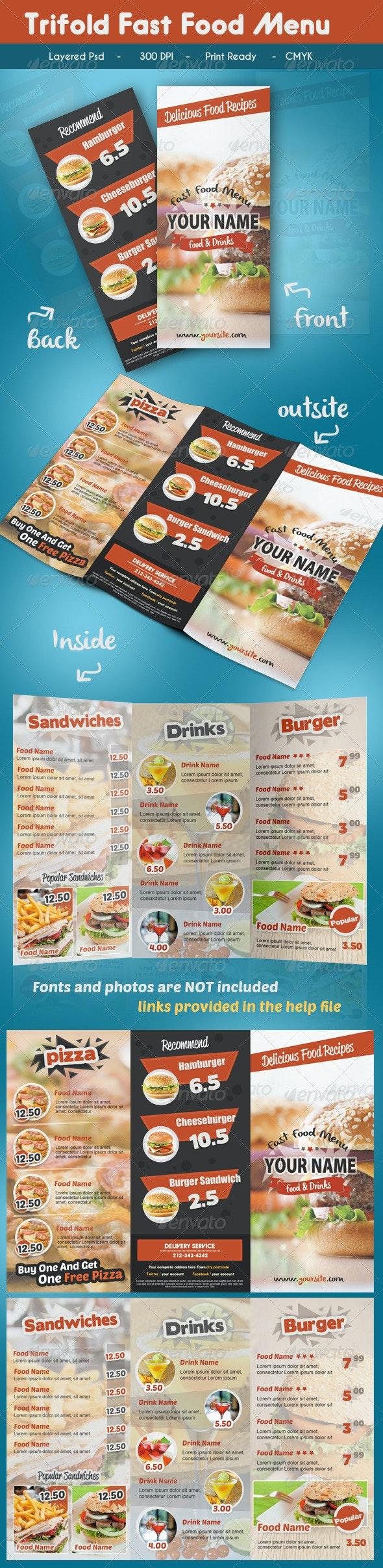 Trifold Fast Food Menu - Food Menus Print Templates
