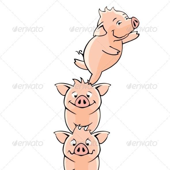Funny piglets. Vector.