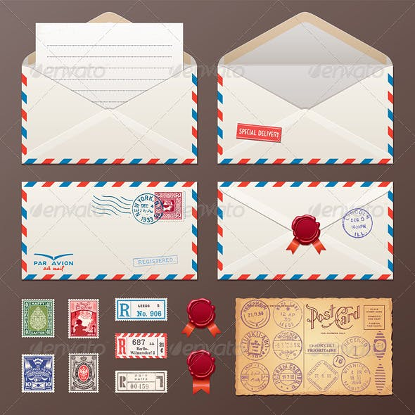 Mail Envelope, Stickers, Stamps, Postcard