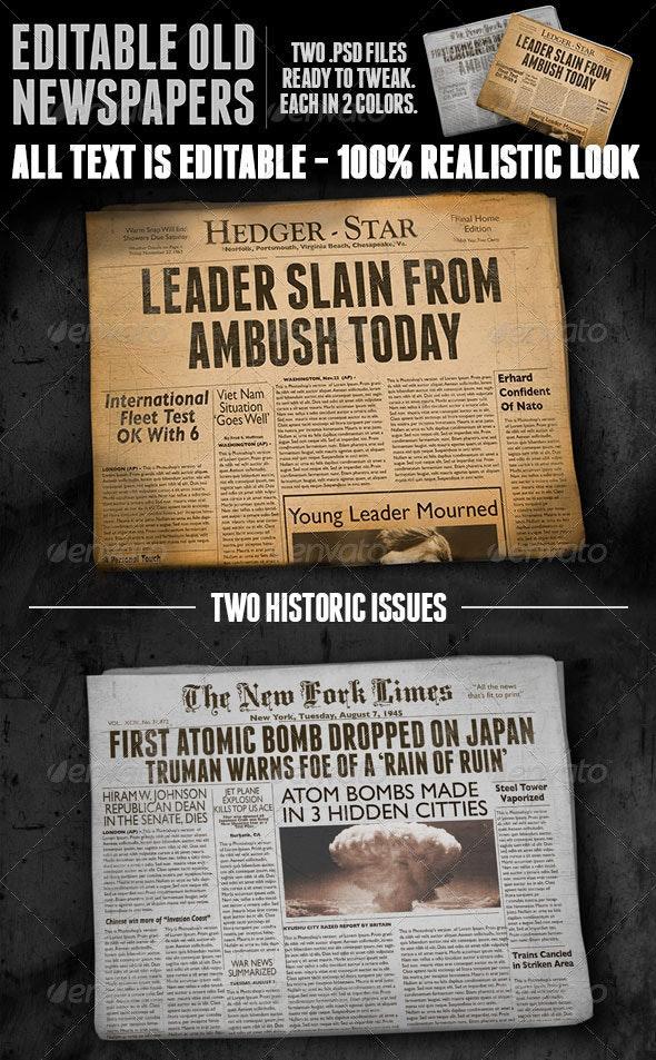Two Vintage Folded Newspaper Mockups - Magazines Print