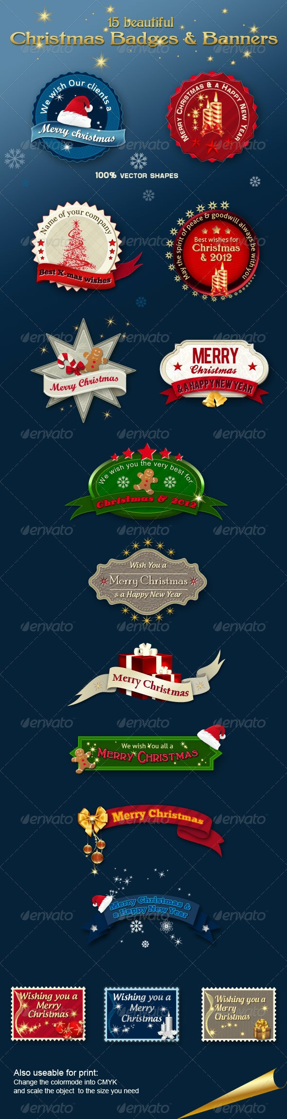 Christmas Badges & Banners - Badges & Stickers Web Elements