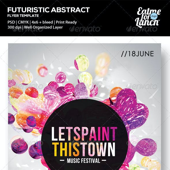 Futuristic Abstract Flyer - Lets Paint This Town