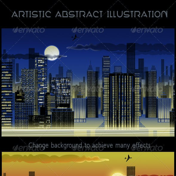 City Skyline at Night Abstract Web Illustration