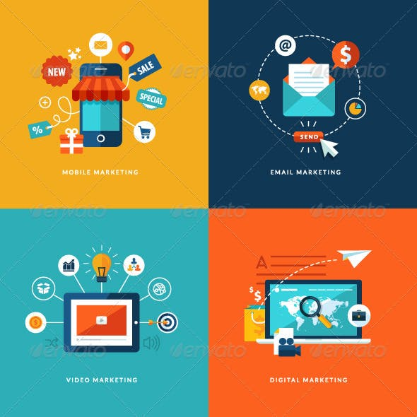Flat Design Concept Icons for Internet Marketing