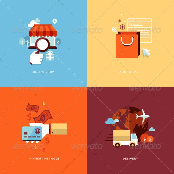 Flat Design Concept Icons for Online Shopping
