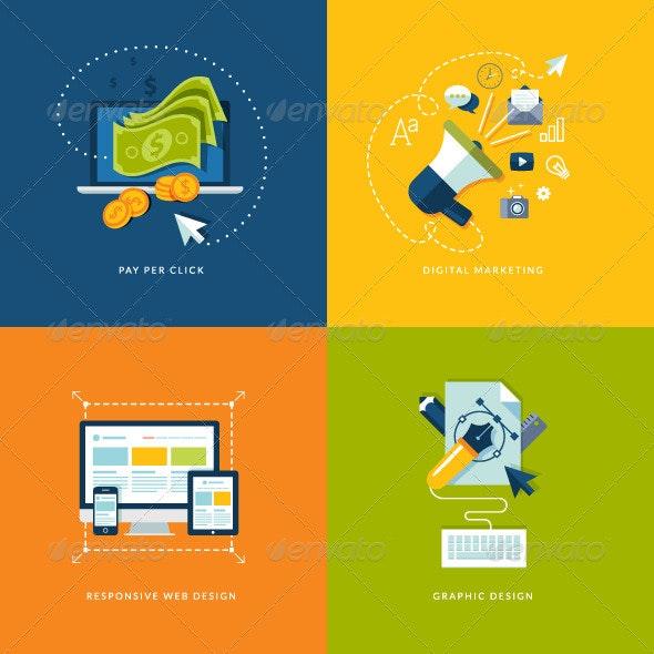 Internet Marketing and Web Development Concepts - Conceptual Vectors