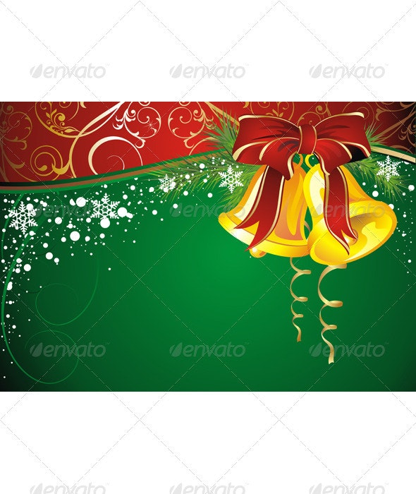 Christmas background with gold bell - Christmas Seasons/Holidays