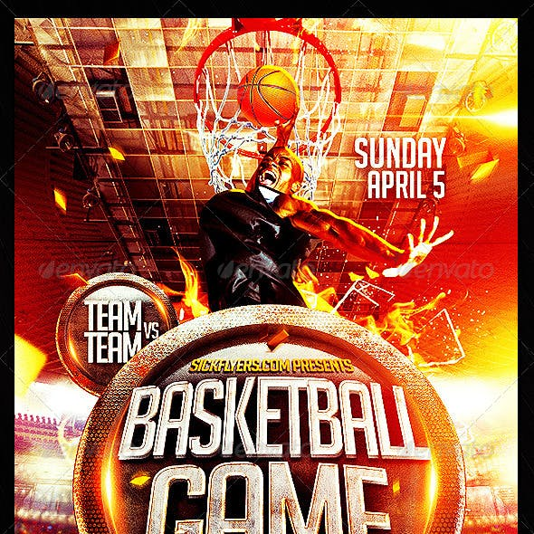 Basketball Playoffs Flyer PSD