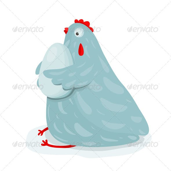 Funny Mom Hen Sitting Hugging Egg