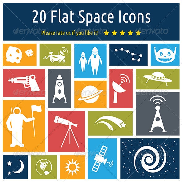 20 Flat Space Icons - Icons