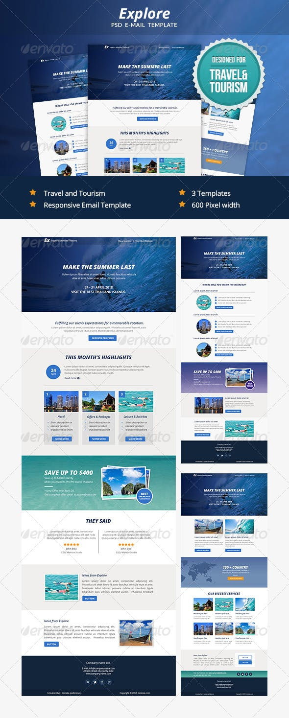 Explore Travel Psd Email Newsletter Template