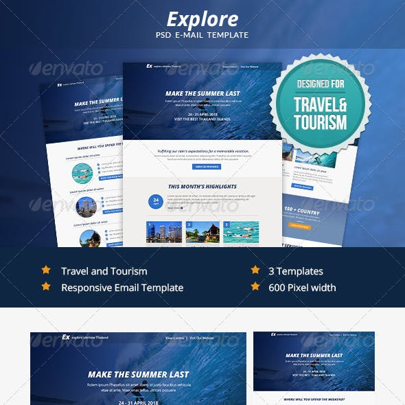 Explore - Travel PSD Email Newsletter Template