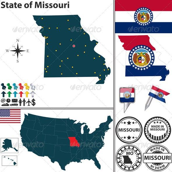 Map of state Missouri, USA