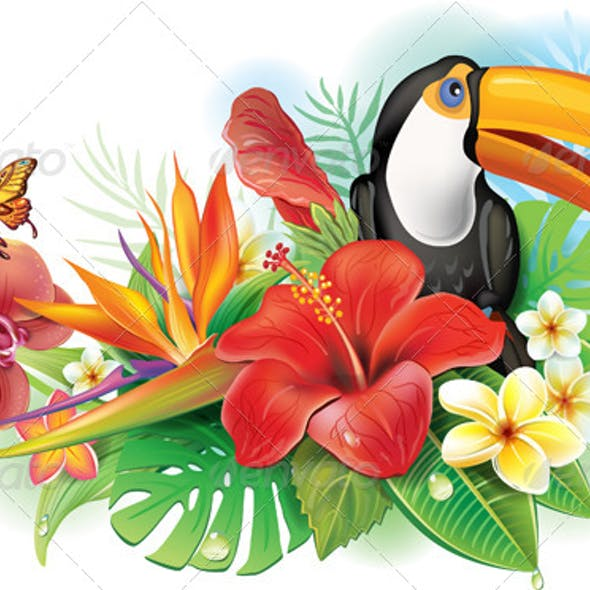Red Hibiscus Toucan and Tropical Flowers
