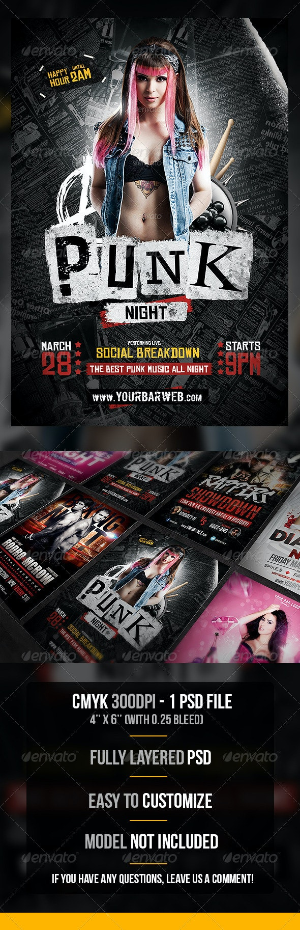 Punk Night Flyer Template - Flyers Print Templates