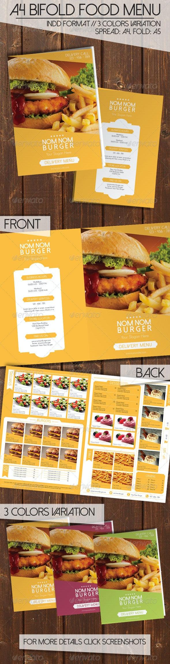 Bi Fold Food Menu - Food Menus Print Templates