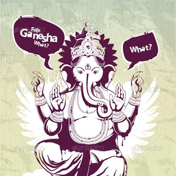 Graffiti image with indian idol Ganesha