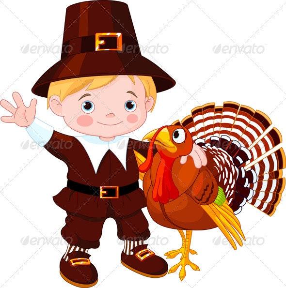 Cute pilgrim  and turkey - Seasons/Holidays Conceptual