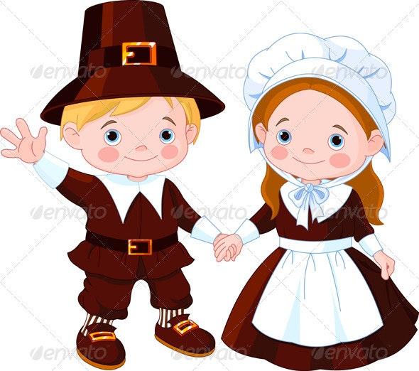 Thanksgiving Day Pilgrim Couple - Seasons/Holidays Conceptual
