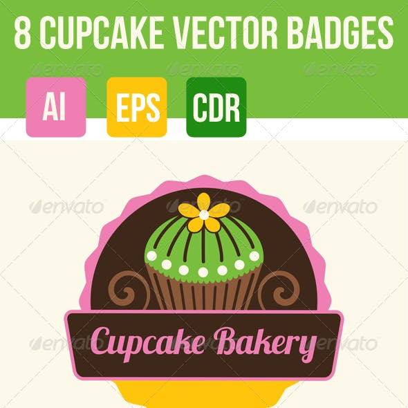 8 Cupcakes and Bakery Badges