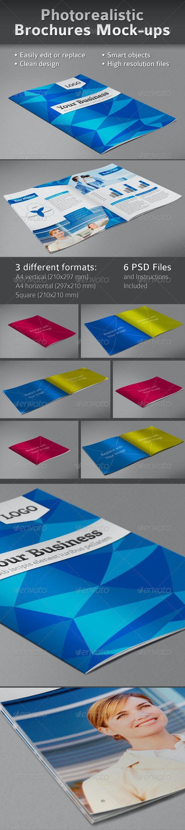 Photorealistic Brochures Preview Mock-ups - Brochures Print