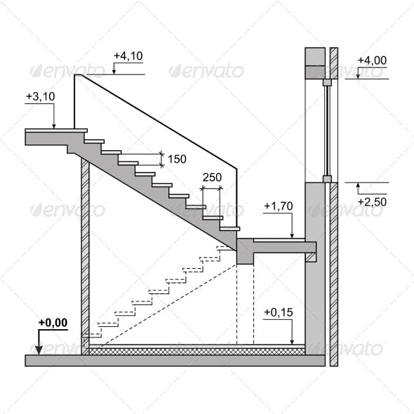 Draft Project Stairs on White Background