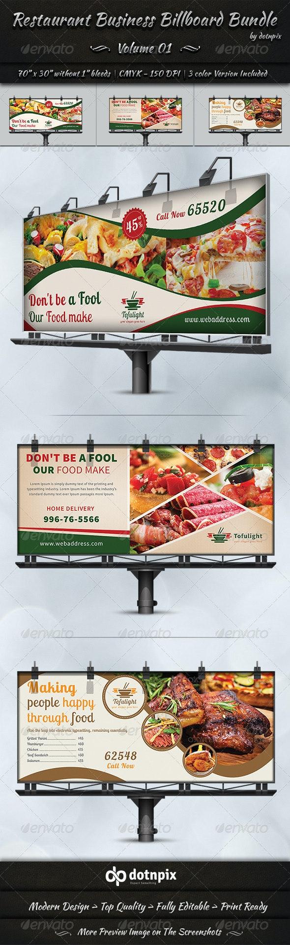 Restaurant Business Billboard Bundle | Volume 1 - Signage Print Templates