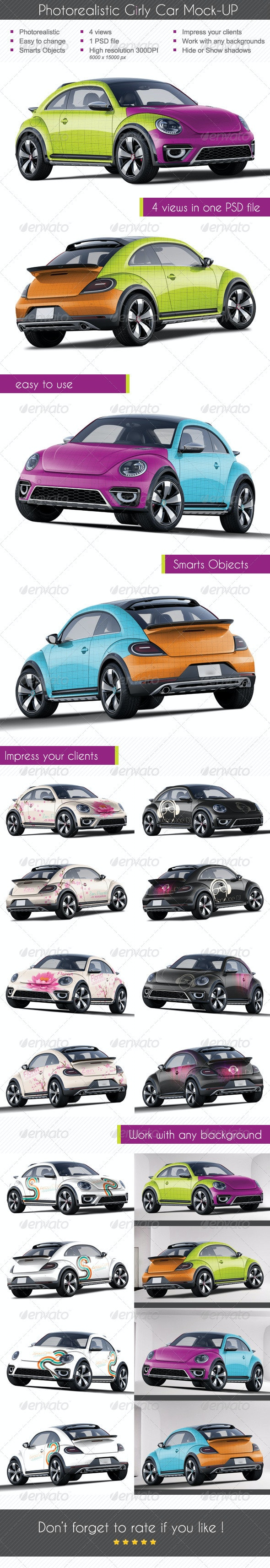 Photorealistic Girly Car Mock-up - Vehicle Wraps Print