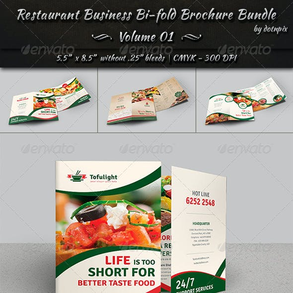Restaurant Bi-fold Brochure Bundle | Volume 1