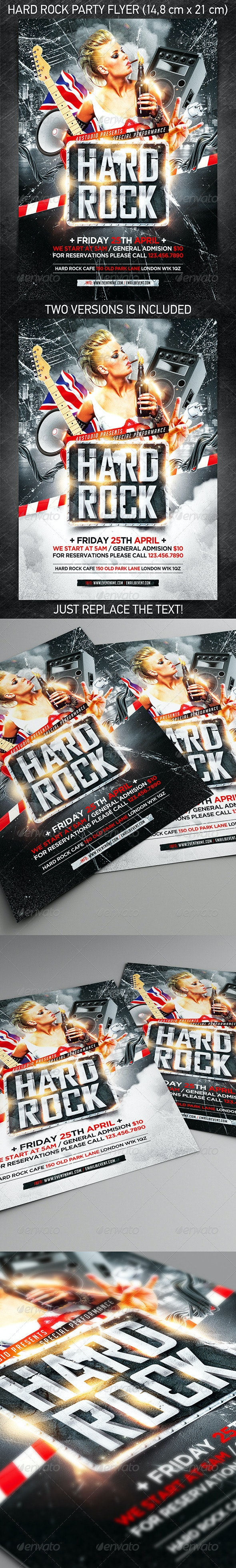 Hard Rock Party Flyer - Concerts Events