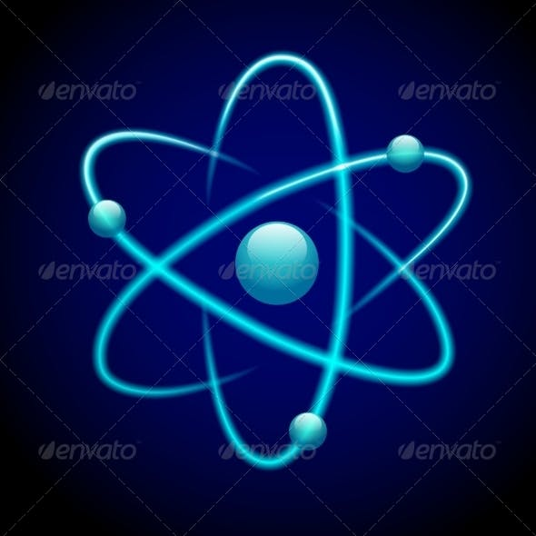Blue 3D Atom Symbol