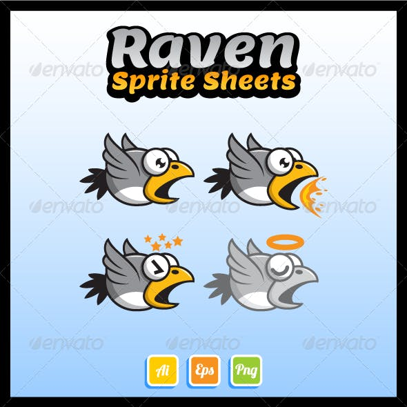 Flying Raven Sprite Sheet