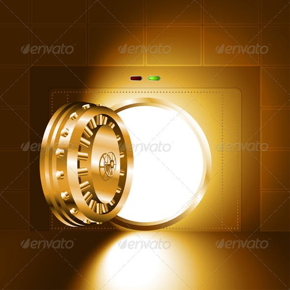 Gold Safe Door Open with Light