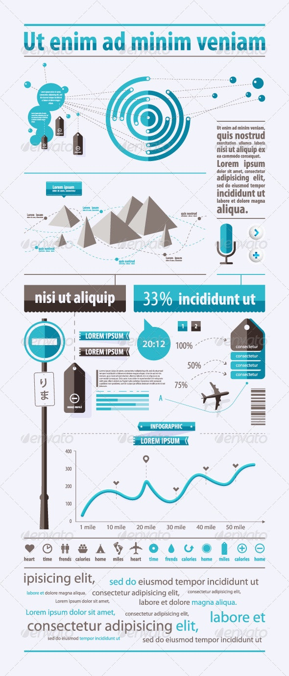 Elements of infographics with prohibitory traffic