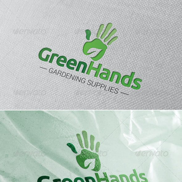 Green Hands Logo Template
