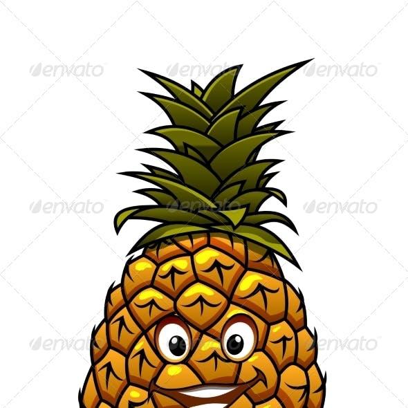 Fun Cartoon Tropical Pineapple Fruit