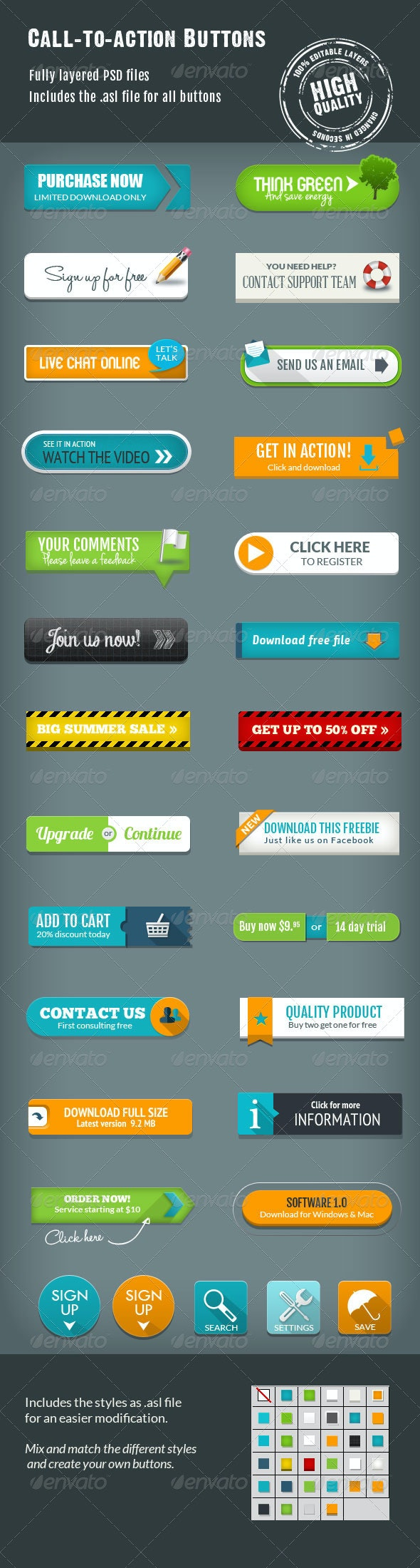 Call-To-Action Buttons Vol.III - Buttons Web Elements