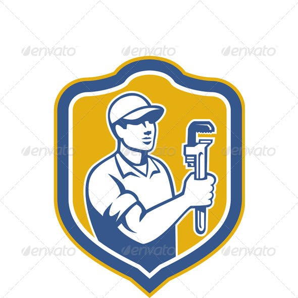 Plumber Holding Wrench Side Shield Retro