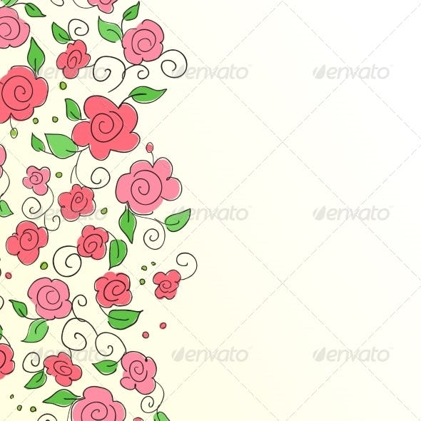 Background with Hand Drawn Flower Pattern