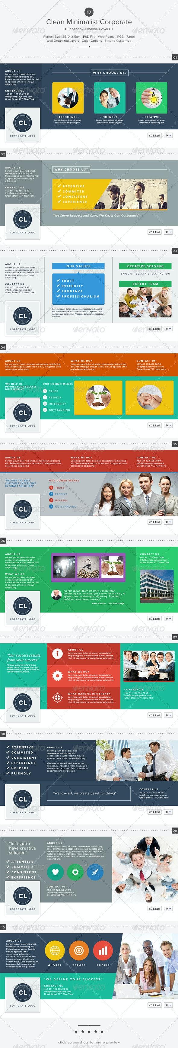 10 Clean Minimalist Corporate Facebook Covers - Facebook Timeline Covers Social Media