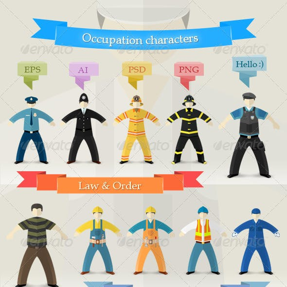 Flat Design Profession Characters in Uniform