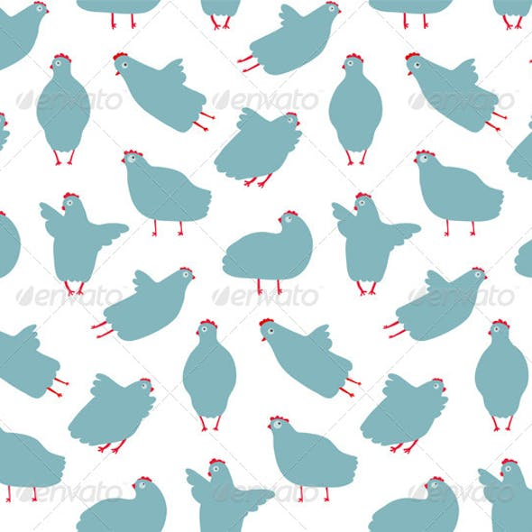 Funny Hen Seamless Pattern Background