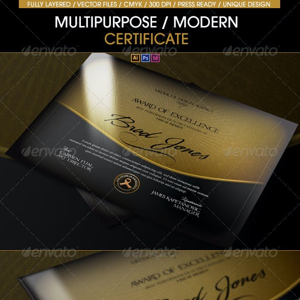 Multipurpose Modern Certificate (All Formats)