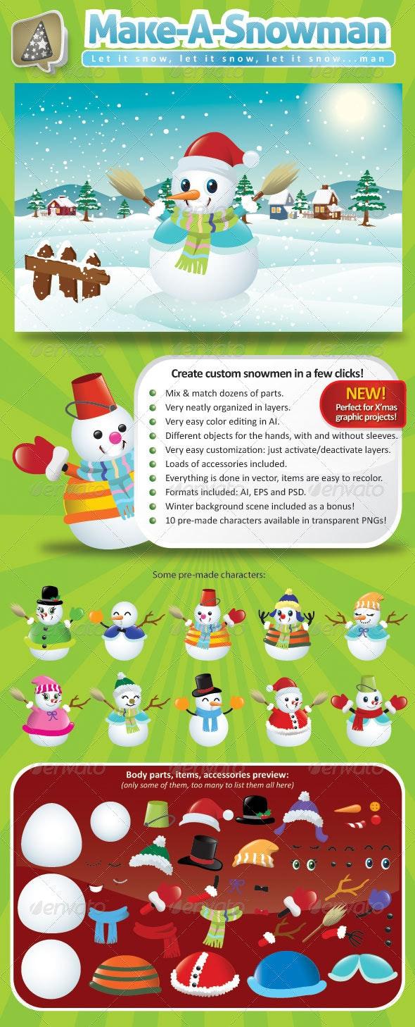 Vector Snowman Creation Pack - Characters Vectors