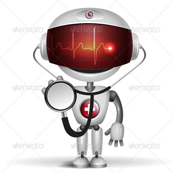 Robot Doctor with Stethoscope