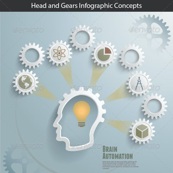 Head and Gears Infographic Concepts