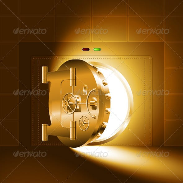 Light Half-Open Gold Safe Door