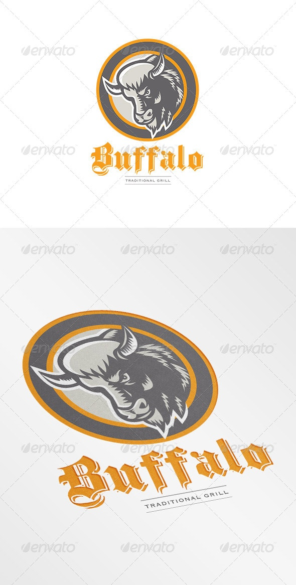 Buffalo Traditional Grill Logo - Animals Logo Templates