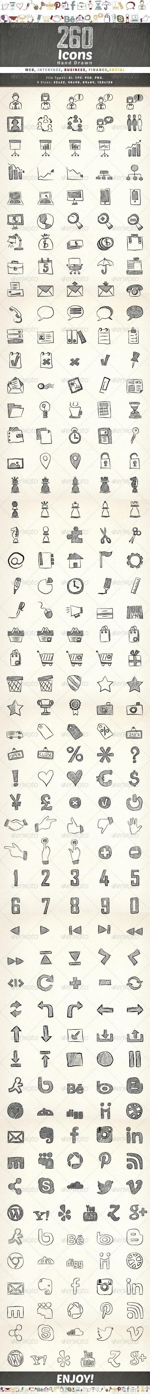 260 Hand Drawn Icons - Icons